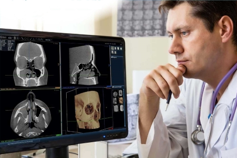 The MiniCAT is an in-office, point-of-care, CT scanner that creates digital images of the sinus, temporal bones, or skull base in less than one minute. (Photo: Business Wire)