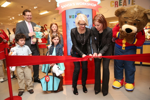 Build-A-Bear Workshop Chief Executive Officer, Sharon John and Chief Marketing Officer, Gina Collins, cut the ribbon at the grand opening of the Times Square pop-up store in New York City. (Photo: Business Wire)