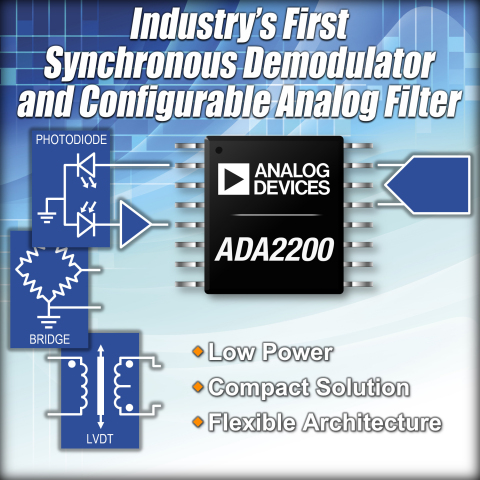 Analog Devices' Synchronous Demodulator with Configurable Analog Filter Improves Signal Measurement Sensitivity in Low-Power Applications ADI's ADA2200 demodulator raises performance threshold for low-power signal processing applications, while reducing system complexity and board space. (Graphic: Business Wire)