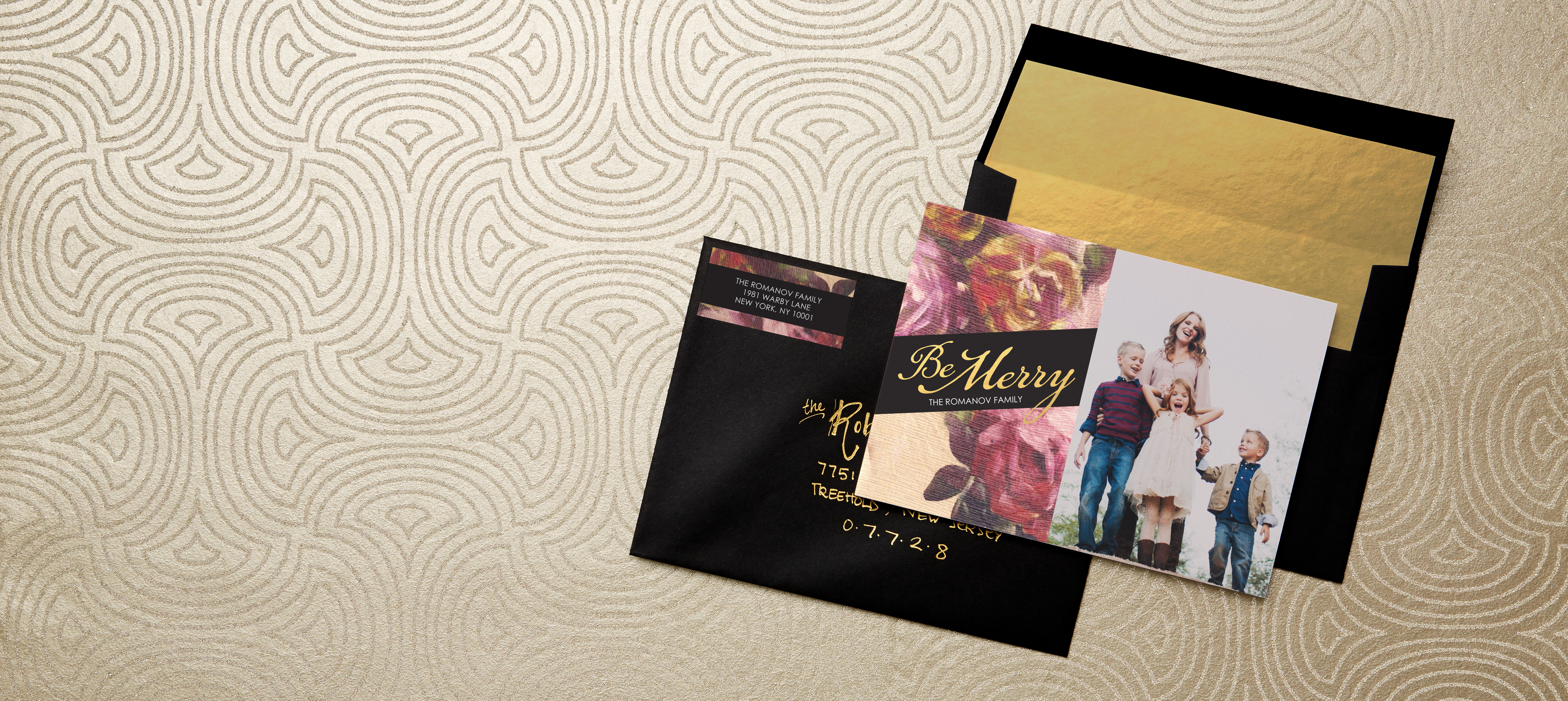 tiny prints and marchesa introduce glamorous new holiday card