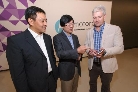 (from left to right) Liu Jun, EVP, Lenovo, President Mobile Business Group, Lenovo and Chairman of t ...