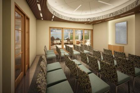 An artist's rendering of the Children's Hospital Los Angeles Leavey Interfaith Chapel prayer room (courtesy of c/a Architects).