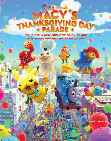 The 88th Annual Macy's Thanksgiving Day Parade kicks off the holiday season on Thursday, Nov. 27, 2104 with its signature pomp and pageantry. (Photo: Business Wire)