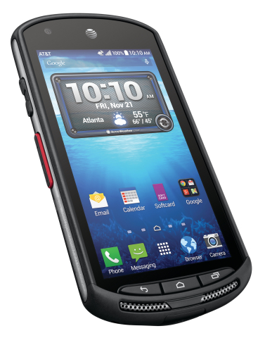 AT&T and Kyocera Communications Inc. today announced the new Kyocera DuraForce, a rugged, waterproof, 4G LTE Android™ smartphone, will be available for purchase on Nov. 7 at att.com and AT&T business channels and on Nov. 21 in AT&T retail stores. (Photo: Business Wire)