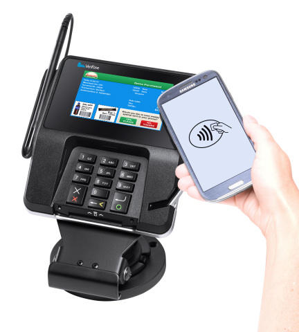 In addition to supporting all payment methods, including NFC, Verifone's MX 900 series features stunning digital color displays, high-speed graphic processors and large memory capacities that enable retailers to deliver targeted promotional content to consumers at the point of sale (POS). (Photo: Business Wire)