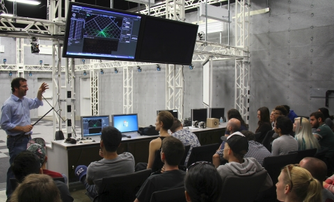 Eric Furie, senior technologist and adjunct faculty at USC School of Cinematic Arts, teaches a class ...