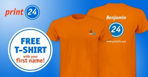 Commandez un T-shirt gratuit affichant votre prénom à l'adresse www.print24.com (image : Business Wire)