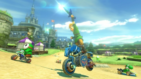 The first pack of DLC for Mario Kart 8 launches on Nov. 13 and includes new courses, vehicles and characters from other Nintendo games like The Legend of Zelda, F-Zero and Excitebike. Players can buy and download from the in-game menu or in the Nintendo eShop on Wii U. (Photo: Business Wire)