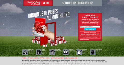 To ensure shoppers are filling their mugs with great coffee and getting some extra perks this holiday season, Seattle's Best Coffee is launching a month-long giveaway extravaganza. Visit www.SeattlesBestDoorbusters.com for the chance to win hundreds of prizes. (Photo: Business Wire)