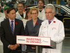 Honda of Canada Mfg. (HCM), a division of Honda Canada Inc., announced that it will invest $857 million over three years to innovate its three award-winning manufacturing plants in Alliston, ON with new technologies and processes.  Left to right, Ontario Minister of Economic Development, Employment and Infrastructure, Brad Duguid, Premier of Ontario, Kathleen Wynne and President and CEO of Honda Canada Inc., Jerry Chenkin. (Photo: Business Wire)