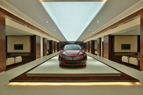 Lincoln MKZ on display: The Lincoln MKZ midsize luxury sedan is among the first two vehicles now for sale in Lincoln stores in China. (Photo: Business Wire)