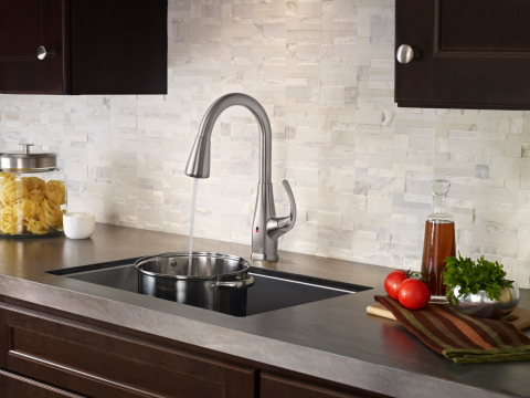 Pfister Touch-Free Faucet with REACT™ (pictured here in Selia) technology allows users to guide their hand or an object within the sensor range to turn water on or off. (Photo: Business Wire)