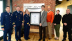 From left are U.S. Coast Guard officers Commander David O'Connell, Captain John O'Connor, and Rear Admiral Linda Fagan, and Distrigas's Tony Scaraggi, Mark Skordinski, Colleen Kallestad, and Bill Ricci. (Photo: Business Wire)