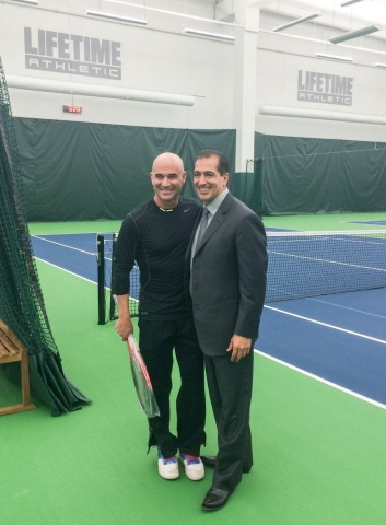 Tennis icon and Las Vegas resident Andre Agassi joins Life Time Founder and Chairman Bahram Akradi c