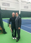 Tennis icon and Las Vegas resident Andre Agassi joins Life Time Founder and Chairman Bahram Akradi celebrate the opening of Life Time Athletic Green Valley, featuring a world-class tennis center. (Photo: Life Time)
