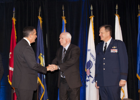 Today Intel CEO Brian Krzanich, Senator John McCain and Major General Michael McGuire honored the se ...
