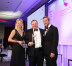 Michael Wheeler, executive vice president of NTT Communications Global IP Network at NTT America (center), receives the Global Carrier Awards from Ros Irving, Managing Director of Capacity Magazine, and Ben Fogle (Picture courtesy of Capacity Media).