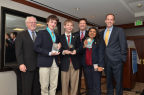 Adam Forsyth, Jacob Gurev, and Shakthi Shrima are the team winners of the Siemens Competition regional event held at the California Institute of Technology. They advance to the National Finals in Washington, D.C. (Photo: Business Wire)