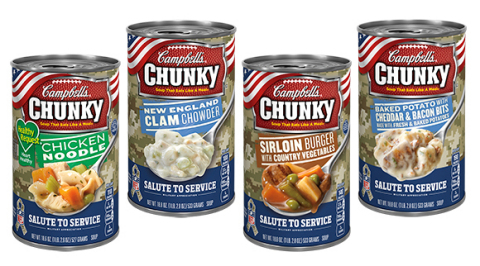 In honor of Veterans Day, Campbell's Chunky Soup is participating in the NFL's Salute to Service program by introducing a limited-edition Chunky® soup can. The can, which was designed to recognize the country's military personnel and their families, is available for a limited time in Chunky soup flavors like New England Clam Chowder, Baked Potato with Cheddar & Bacon Bits, Sirloin Burger with Country Vegetables and Healthy Request® Chicken Noodle. The Chunky Salute to Service can is available exclusively at Walmart retail locations nationwide. Additionally, through their involvement in Salute to Service, Campbell's Chunky Soup has made a donation of $150,000 to the campaign by giving $50,000 each to the Pat Tillman Foundation, United Service Organizations (USO) and Wounded Warrior Project. (Photo: Business Wire)
