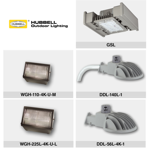 Hubbell Outdoor Lighting introduces an all new LED luminaire for parking garages and expands two of its most popular LED product lines. If you would like high resolution individual product images, please reach out to Hubbell Lighting's media contact. (Photo: Business Wire)