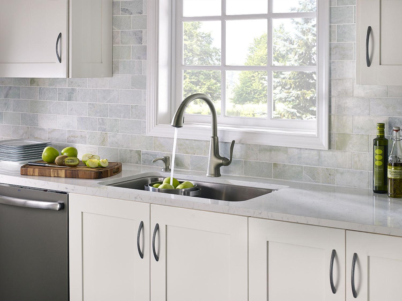 White Kitchen Cabinets With Slate Appliances  Kitchen