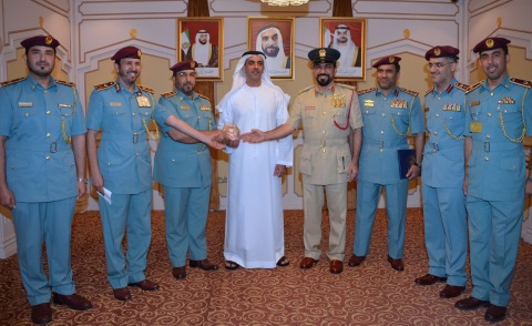 Saif bin Zayed welcomes the awarded president and work team (Photo: Business Wire)