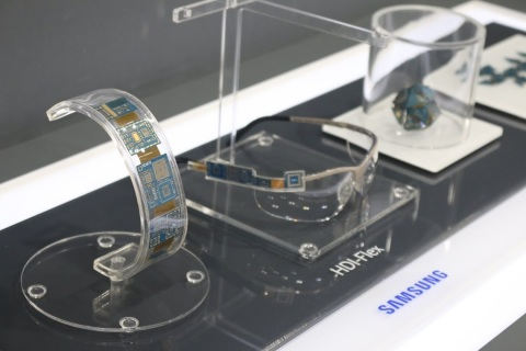 This is a HDI-Flex PCB for wearable devices produced by Samsung Electro-Mechanics on display at the 16th China Hi Tech Fair ELEXCON 2014. (Photo: Business Wire)