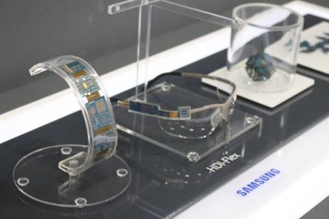 2014年中国国际高新技术成果交易会上展示的三星电机用于穿戴式设备的 软硬结合、高密度互连印制电路板(Rigid-Flex HDI PCB)(照片:美国商业资讯)