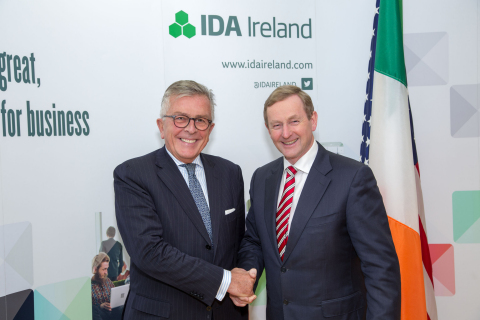 Lamberto Andreotti (L), chief executive officer, Bristol-Myers Squibb meets with Ireland's Prime Min