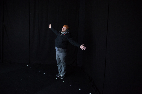 A visitor experiences the interactive exhibit in Portland, Ore. (Photo: Business Wire)