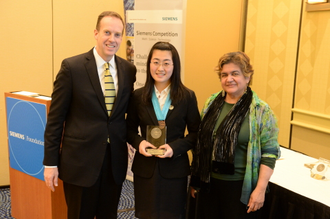 Molly Zhang is the individual category winner of the Siemens Competition regional event held at the Massachusetts Institute of Technology. She advances to the National Finals in Washington, D.C. (Photo: Business Wire)