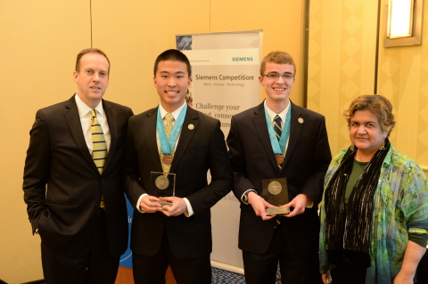 Jonathan Chan and Michael Seaman are the team winners of the Siemens Competition regional event held at the Massachusetts Institute of Technology. They advance to the National Finals in Washington, D.C. (Photo: Business Wire)