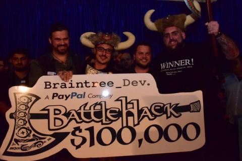 The $100,000 USD BattleHack grand prize winners Shai Mishali and Pavel Kaminsky from Team Tel Aviv.
