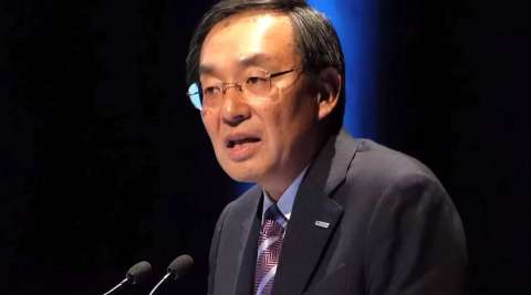 Panasonic President Tsuga presenting a keynote speech at IEC Tokyo. (Photo: Business Wire)