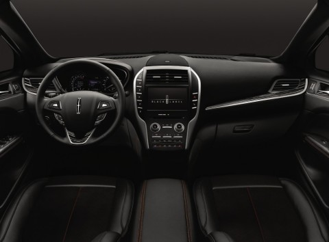Center Stage - one of four exclusive Lincoln Black Label design themes - features a Jet Black leather interior with Foxfire Red accents. (Photo: Business Wire)