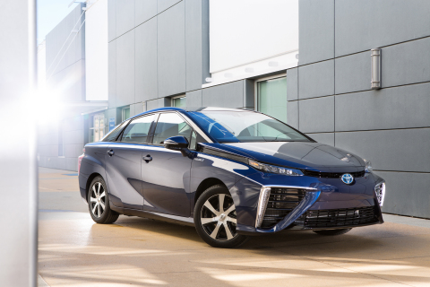 2016 Toyota Mirai Fuel Cell Vehicle, travels about 300 miles on a tankful and goes 0 to 60 in 9 seconds. (Photo: Business Wire)
