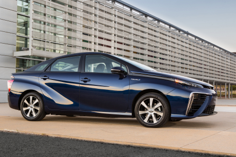 2016 Toyota Mirai Fuel Cell Vehicle runs on hydrogen and emits only water vapor. (Photo: Business Wire)
