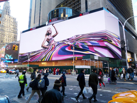 Clear Channel Spectacolor's Newest Spectacular Outdoor Display in Times Square, the largest most technical advanced digital billboard in North America, the length of a football field, 25K Sq. Feet Highest Resolution LED Ever (Photo: Business Wire)