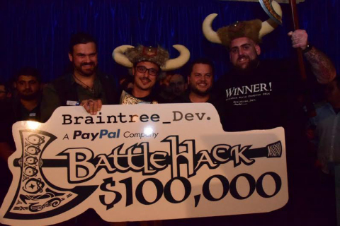 The $100,000 USD BattleHack grand prize winners Shai Mishali and Pavel Kaminsky from Team Tel Aviv.  ...