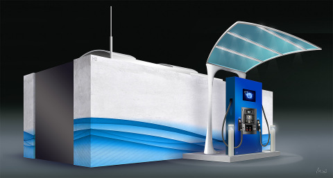 Artist rendering of FirstElement Fuel's canopy, dispenser, and equipment paddock for its California Hydrogen Network. (Photo: Business Wire)