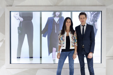 Rebecca Minkoff and Uri Minkoff pictured at the SoHo store. (Photo: Business Wire)