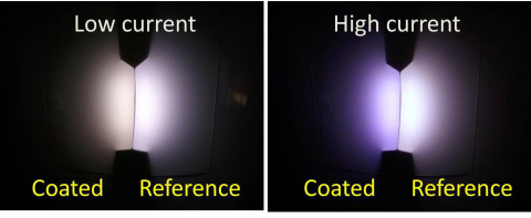 At low current the coated LEDs emit a cozy, warm glow compared to uncoated reference LEDs. Credit: Hugo J. Cornelissen