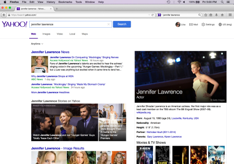 Screenshot of the new Yahoo Search experience in the Firefox browser. (Photo: Business Wire)