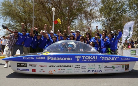 Panasonic-Backed Tokai University Team Wins Carrera Solar Atacama 2014 in Chile (Photo: Business Wire)