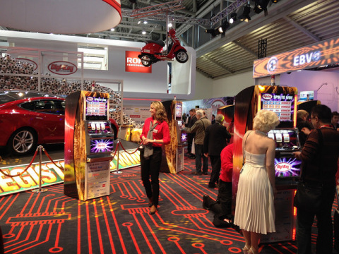Booth participants were able to play on slot machines and socialize with famous impersonators. (Phot ...