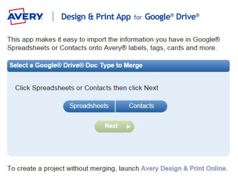The free Avery Design & Print App for Google Drive allows users of Google Sheets and Google Contacts to tap into the power of the popular Avery Design & Print Online software. (Graphic: Business Wire)