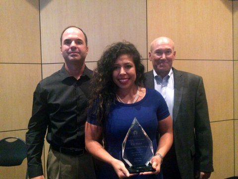 U.S. Water representatives accept California Game Changer Company of the Year Award for integrated solutions which save water and improve process efficiency.(Left, Don Garrett, center, holding Award, Alexandra Causey, right Jamey Shaw)(Photo: Business Wire)