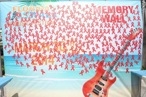 As World AIDS Day 2014 nears (Dec. 1st), a Florida-themed AIDS Memorial Wall in Ft. Lauderdale covered in red ribbons—the symbol of AIDS awareness and solidarity—from a previous year's AIDS awareness event spearheaded by AIDS Healthcare Foundation (AHF). (Photo: Business Wire)