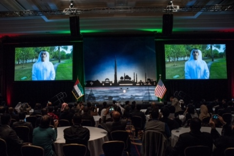 H.H Sheikh Saif delivers a pre-recorded speech to the students (Photo: Business Wire)
