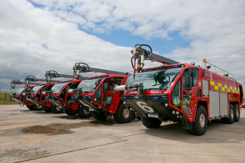 Oshkosh Airport Products has placed six new generation Oshkosh(R) Striker(R) aircraft rescue and firefighting vehicles into service at Manchester Airport in the United Kingdom. All six identically equipped apparatus feature the innovative Snozzle(R) high-reach extendable turret (HRET). (Photo is courtesy of TERBERG DTS / Manchester Airport.)